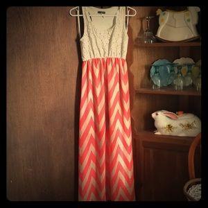 Long chevron lace dress